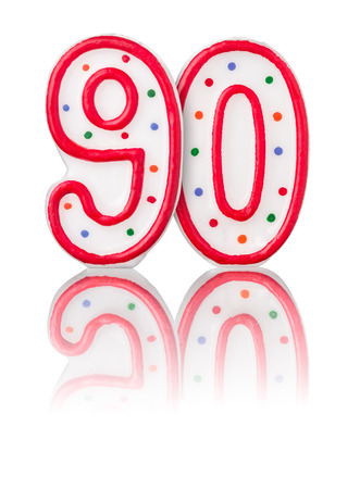 number candles: Red number 90 with reflection Stock Photo