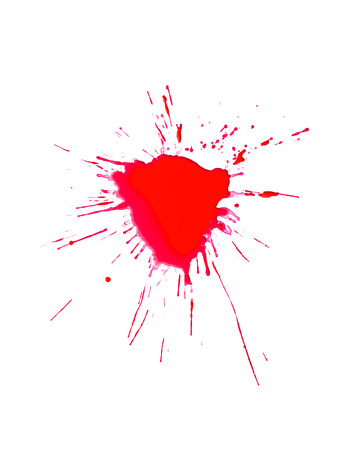 bloodstain: Blood splash on a white background Stock Photo