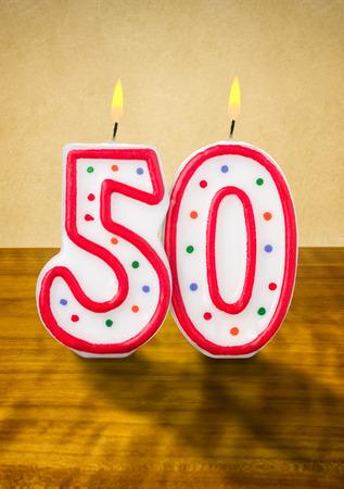 geburtstagskerzen: Brennende Kerzen Geburtstag Nummer 50 Lizenzfreie Bilder