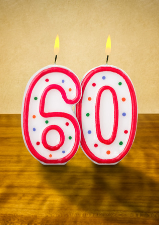 60 years: Burning birthday candles number 60