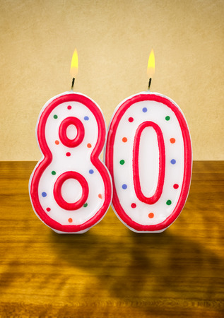 80 years: Burning birthday candles number 80