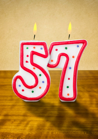 Burning Birthday Candles Number 57 Stock Photo, Picture And ...