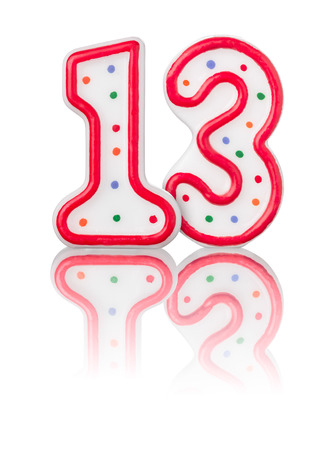 13: Red number 13 with reflection on a white background