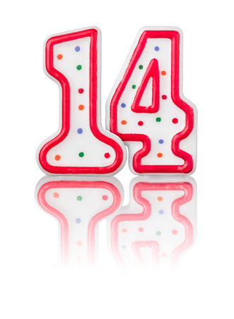 number 14: Red number 14 with reflection on a white background