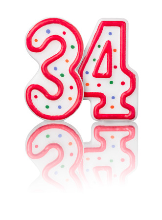 34: Red number 34 with reflection on a white background