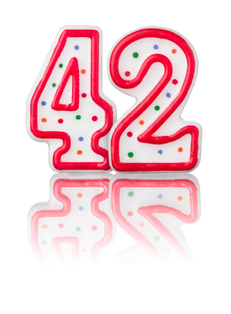 42nd: Red number 42 with reflection on a white background