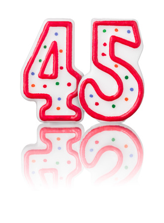 Red number 45 with reflection on a white background photo