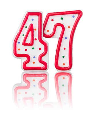 Red number 47 with reflection on a white background photo