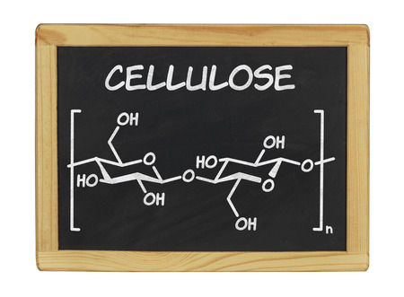 insulation: chemical formula of cellulose on a blackboard Stock Photo