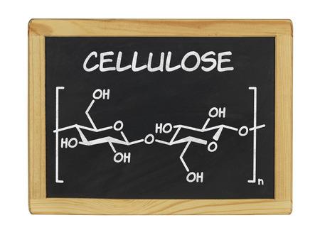 celulosa: fórmula química de la celulosa en una pizarra