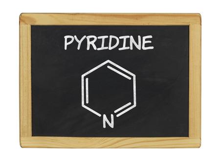herbicide: chemical formula of pyridine on a blackboard