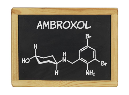 cough syrup: chemical formula of ambroxol on a blackboard Stock Photo