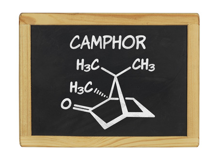 chemical formula of camphor on a blackboard photo