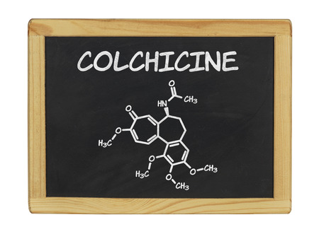 chemical formula of colchicine on a blackboard photo