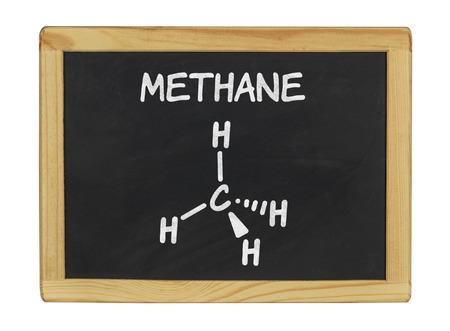 methane: chemical formula of methane on a blackboard