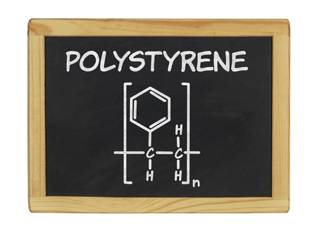 polystyrene: chemical formula of polystyrene on a blackboard