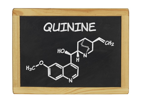quinine: chemical formula of quinine on a blackboard