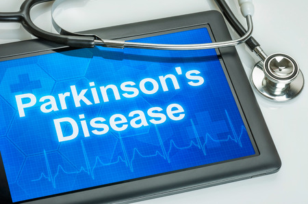 parkinson's: Tablet with the diagnosis parkinsons disease on the display
