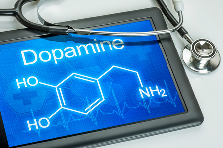Tablet with the chemical formula of dopamine photo