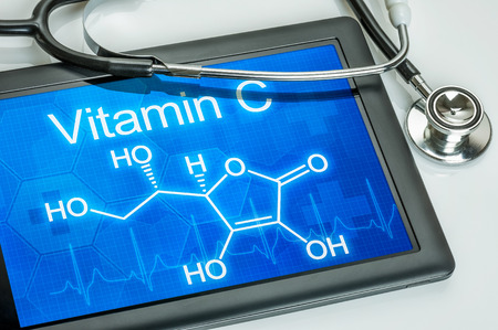 Tablet with the chemical formula of vitamin c