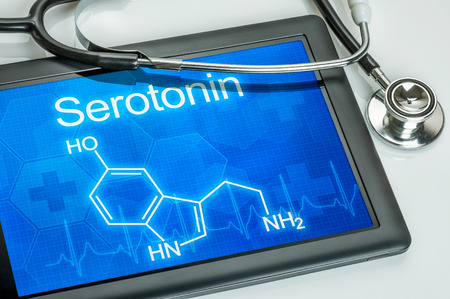 hormone: Tablet with the chemical formula of serotonin
