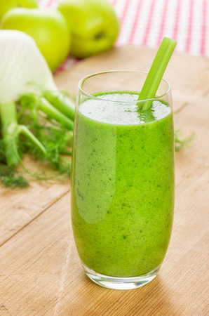 Green smoothie with apple and fennel Stock Photo