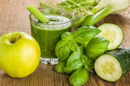 cucumber: Green Smoothie with fresh ingredients