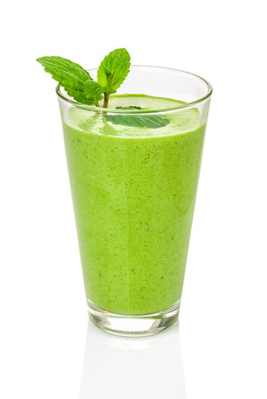 Green smoothie with mint photo