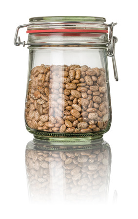 pinto: Pinto beans in a jar Stock Photo
