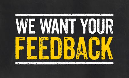 Bord met de tekst Wij willen uw feedback