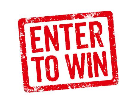 Red Stamp - Enter om te winnen Stockfoto