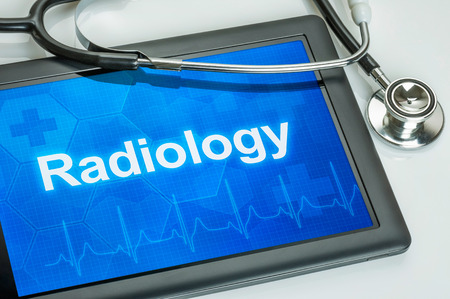 radiation therapy: Tablet with the medical specialty Radiology on the display