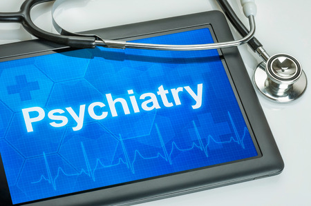 specialit�: Tablet con la specialit� Psichiatria medica sul display Archivio Fotografico