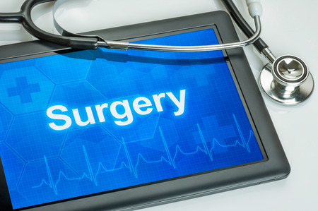 resection: Tablet with the medical specialty Surgery on the display Stock Photo