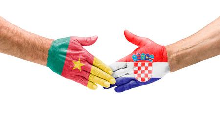cameroon:  Handshake Cameroon and Croatia