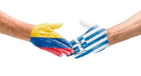 Handshake Colombia and Greece photo