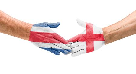 costa rica flag: Handshake Costa Rica and England