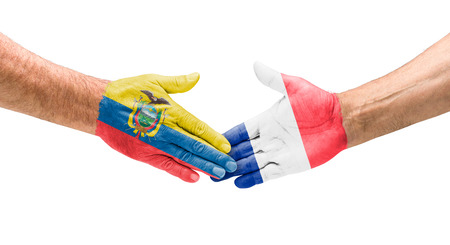 hand painted:  Handshake Ecuador and France