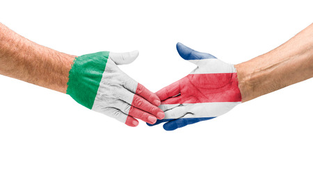 Handshake Italy and Costa Rica photo