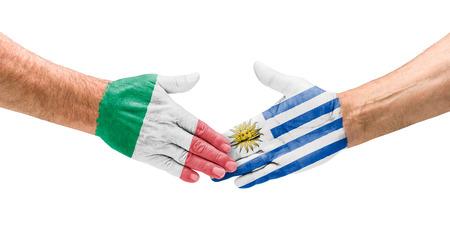 bandera de uruguay: Apretón de manos de Italia y Uruguay