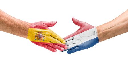Handshake Spain and Netherlands photo