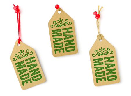 hand crafted: Collection of tags with the text Handmade