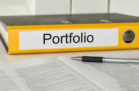 Folder with the label Portfolio Stock Photo