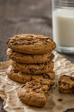 Chocolate cookies with a glass of milk photo