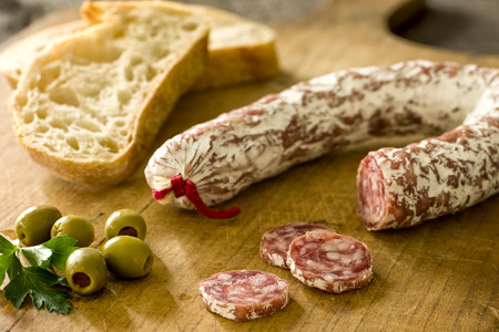 vespers: Salami with baguette and green olives
