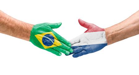 Handshake Brazil and Netherlands photo