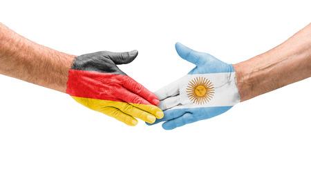 bandera argentina: Apretón de manos de Alemania y Argentina