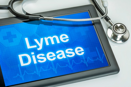 bacteria antibiotic: Tablet with the diagnosis Lyme Disease on the display Stock Photo