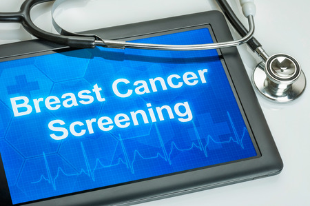 cancer screening: Tablet with the text Breast Cancer Screening on the display