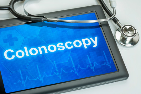 colorectal cancer: Tablet with the text Colonoscopy on the display